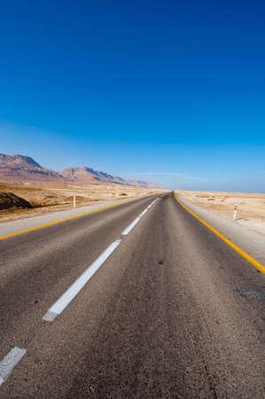 Asphalt Road along the Coast of Dead Sea, Israel Stock Photo - 16857271