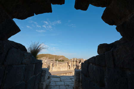 View through the Gap of Ruins of Ancient Bet Shean which Collapsed during Earthquake Stock Photo - 16980413