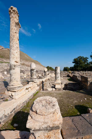Ruins of Ancient Bet Shean which Collapsed during Earthquake Stock Photo
