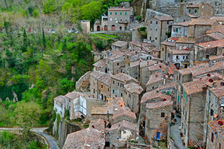 birds eye: Birds Eye View on the Roofs of the City of Sorano