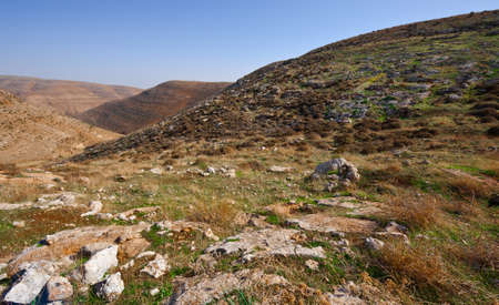 The Judean Mountains on the West Bank of the Jordan River photo