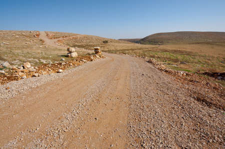 Dirt Road in the Judean Mountains on the West Bank of the Jordan River photo