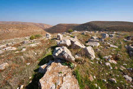 judean hills: The Judean Mountains on the West Bank of the Jordan River Stock Photo