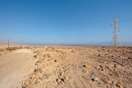 View to the Dead Sea and Electricity Pole from the Judean Desert photo