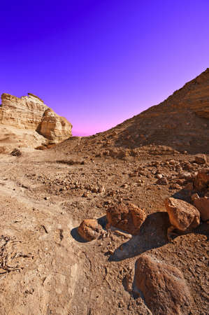 Canyon in the Judean Desert, Sunset Stock Photo - 17220793
