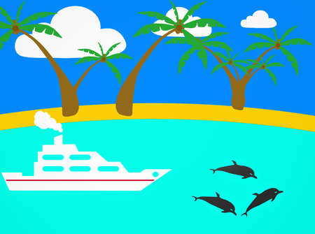 Tropical Scene Icon on Sea and Sky  Background photo