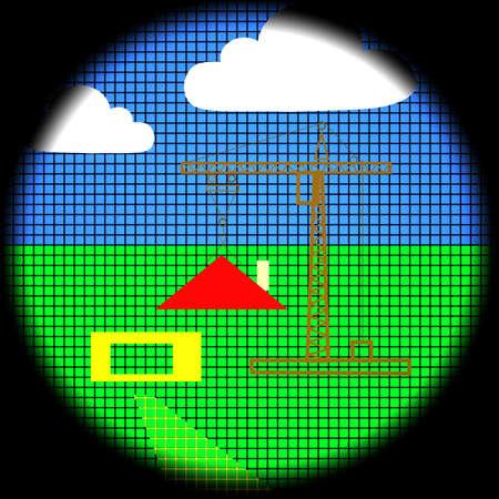 rural development: Rural Scene Icon on Black Background Stock Photo