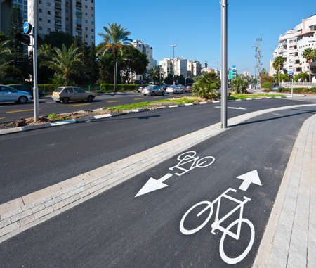 Bicycle Track along the Street in Tel Aviv, Israel