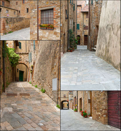 Narrow Alley with Old Buildings in the Italian City, Set  photo