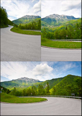 Winding Paved Road in the Italian Alps, set photo
