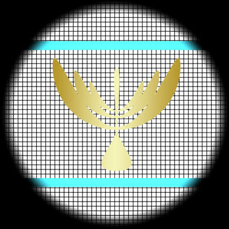 Menorah Icon on Checkered Background photo