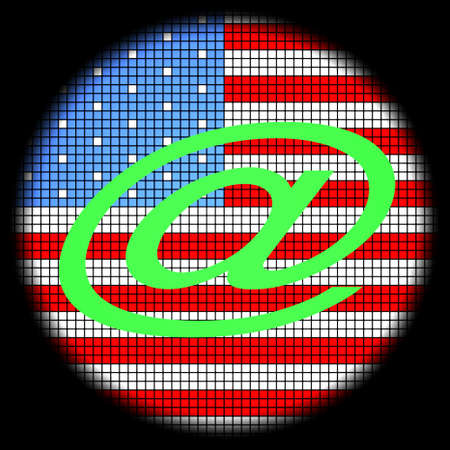 Ampersat Icon on American Flag Checkered Background Stock Photo - 18543579