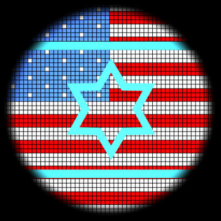 Magen David Icon on American Flag Checkered Background photo