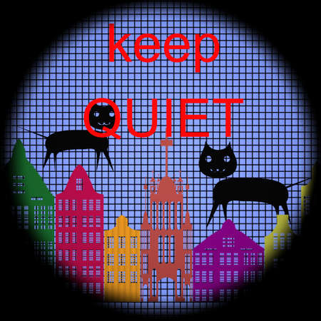 Keep Quiet Icon on Checkered Background photo