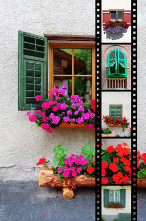 Windows With Open Wooden Shutters, with Film Strip photo