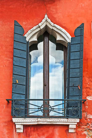 Facade of the Old Italian House with Balcony in Venice Stock Photo - 18983936