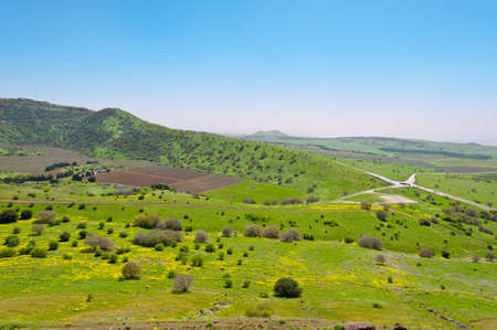 the golan heights: Crossroads and  Fields in Golan Heights, Early Spring