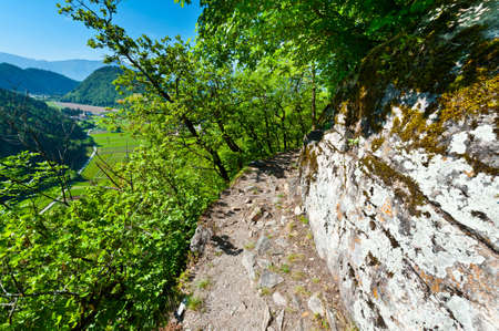 Hiking Trail in the Cliffs near Fortress Pergine Castle  photo
