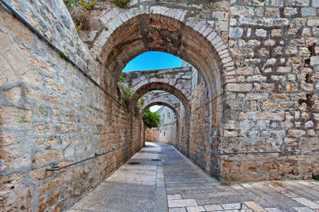 Narrow Alley in the Armenian Quarter of Jerusalem Stock Photo