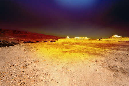 judean hills: Sandstorm in the Judean Desert on the West Bank  Stock Photo