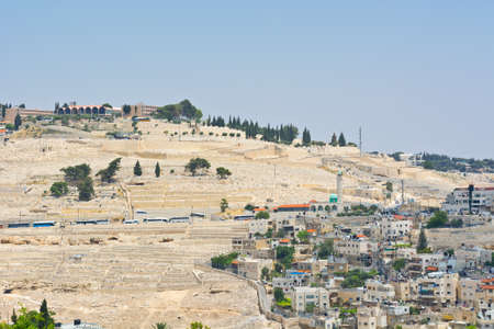 jewish home: View to the East Jerusalem and Mount of Olives  from the Walls of the Old City Stock Photo