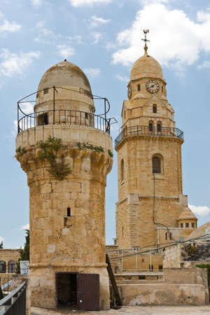 Bell-Tower of Church of Dormition and old Minaret on Mount Zion photo
