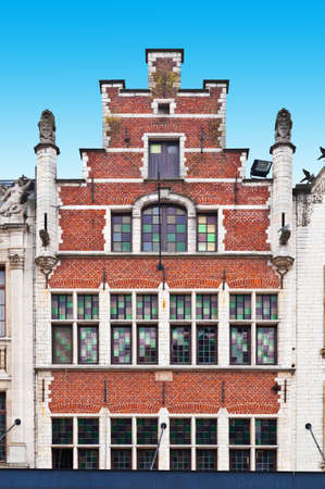 gable: The Flemish Gable in the Belgium City  Stock Photo