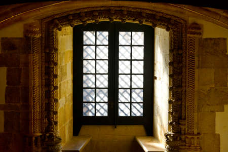 Window in the Templar Church in the Portugal City of Tomar photo