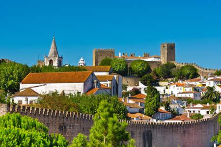 View to Historic Center City of Obidos, Portugal Standard-Bild