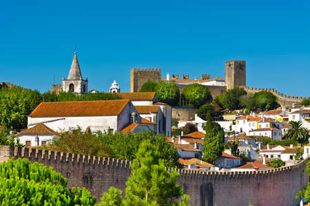 View to Historic Center City of Obidos, Portugal Stok Fotoğraf