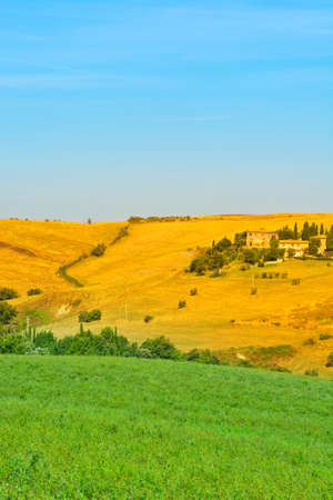 Plowed Sloping Hills of Tuscany in the Autumn