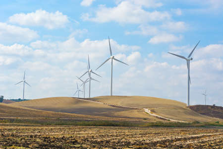 Modern Wind Turbines Producing Energy in Spain photo