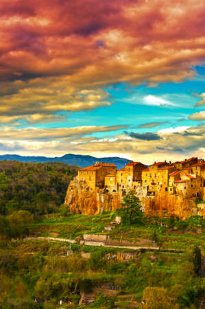 Birds Eye View on the Roofs of the City of Pitigliano photo