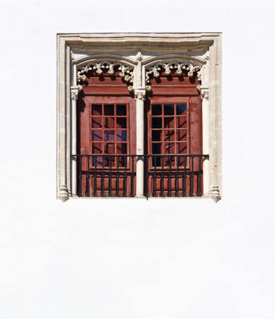 balcony window: Portuguese Window with a balcony in the Style of Manueline