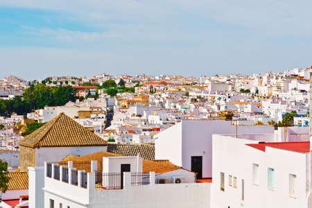 birds eye: Birds Eye View on the White Houses of the Spanish Town