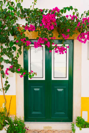 resplendence: Wooden Portuguese Door Decorated with Red Bougainvillaea