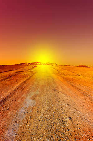 Sunset over the Stony Desert in Israel
