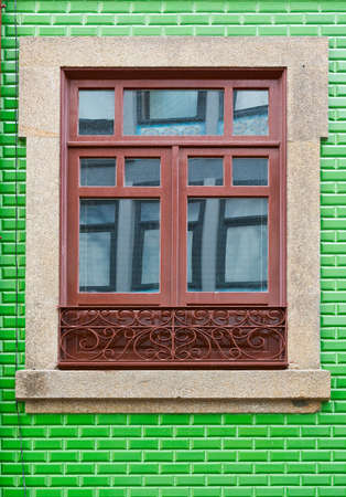Window Decorated with Portuguese Ceramic Tiles Stock Photo