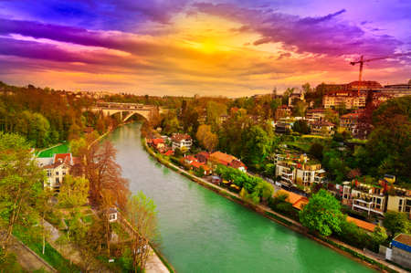 renewed: Birds Eye View  of the City of Berne and River Aare, Sunset Stock Photo