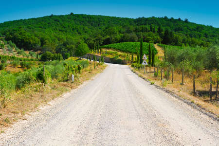 Winding Dirt Road in the Tuscany, Italy photo