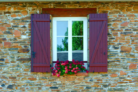 French Window with Open Wooden Shutter photo