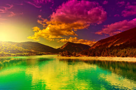 Lake in the French Alps, Sunset photo