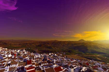 birds eye: Birds Eye View on the Red Tiles of the Spanish Town