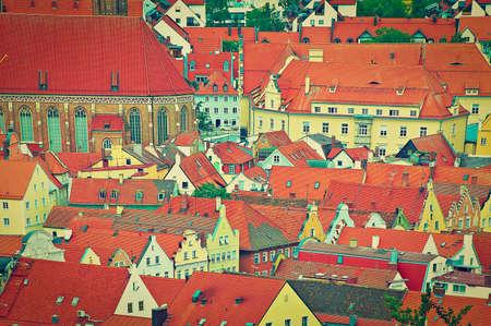 Birds Eye View on the Bavarian Town of Landshut, Instagram Effect photo