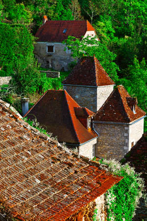 birds eye: Birds Eye View on the Red Tiles of the French Town