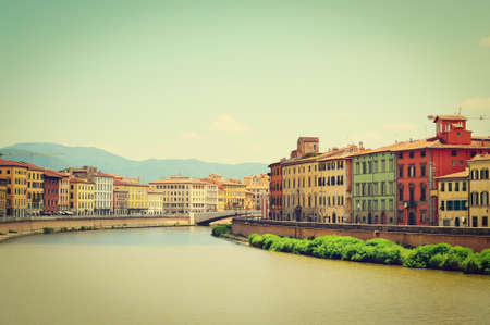 Embankment of the River Arno in the Italian City of Pisa photo