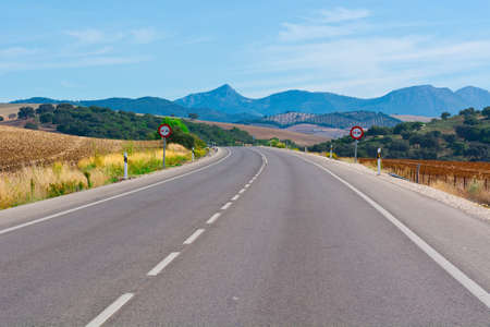 cantabrian: Asphalt Road in the Cantabrian Mountains, Spain Stock Photo