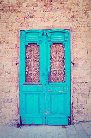 Old  Blue Wooden Israel Door photo