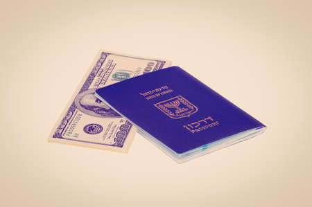 israel passport: Israel Passport With Dollar Bills, Instagram Effect Stock Photo