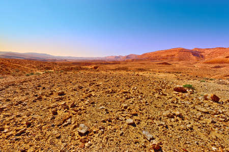 Rocky Hills of the Negev Desert in Israel, Sunset Stock Photo